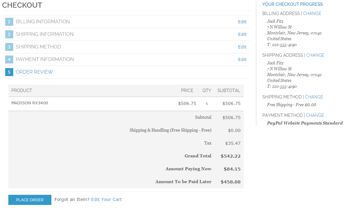 Order summary with a Partial Payment option
